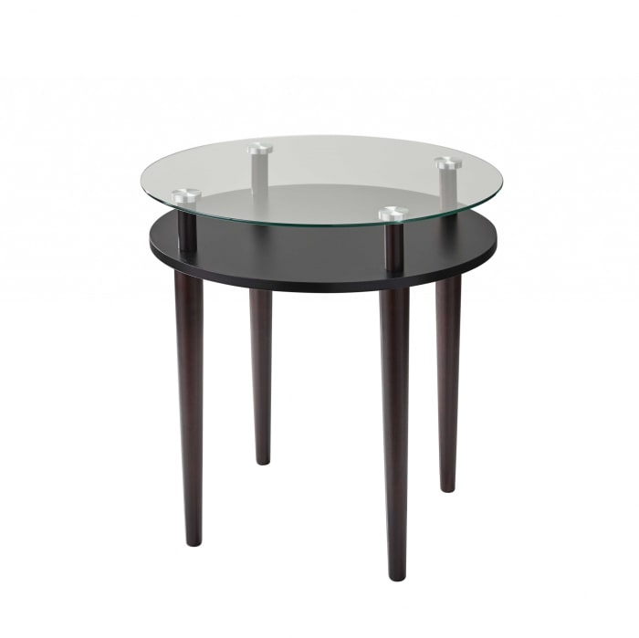 Black Modern Glass Round Side End Table