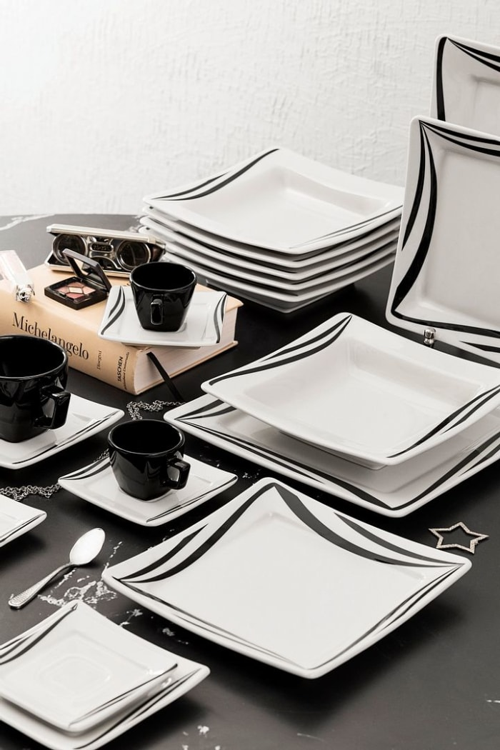 Nara 32 Piece Black and Ivory Dinnerware Set