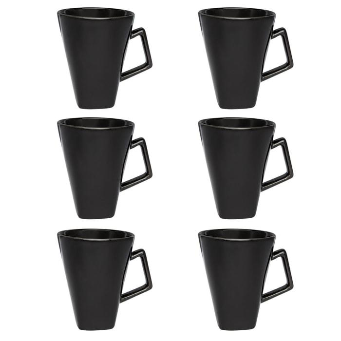 Nara Black Beveled 12 Piece Mug Set