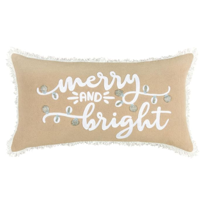 Merry & Bright Tan Filled Christmas Pillow