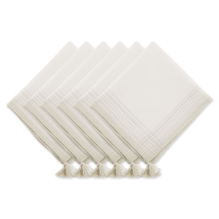 Natural Variegated Stripe With Tassel Napkin (Set of 6)