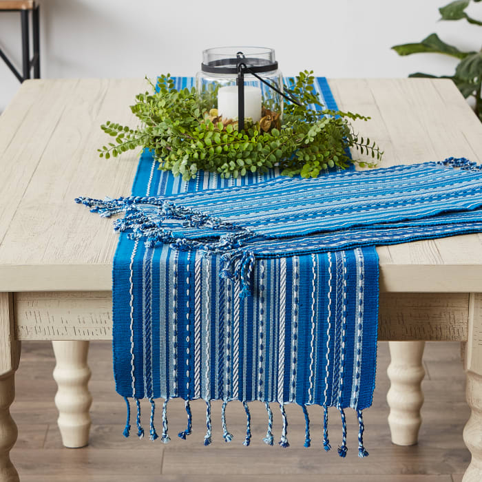 Blue Tonal Stripe With Fringe Set of 6 Placemats