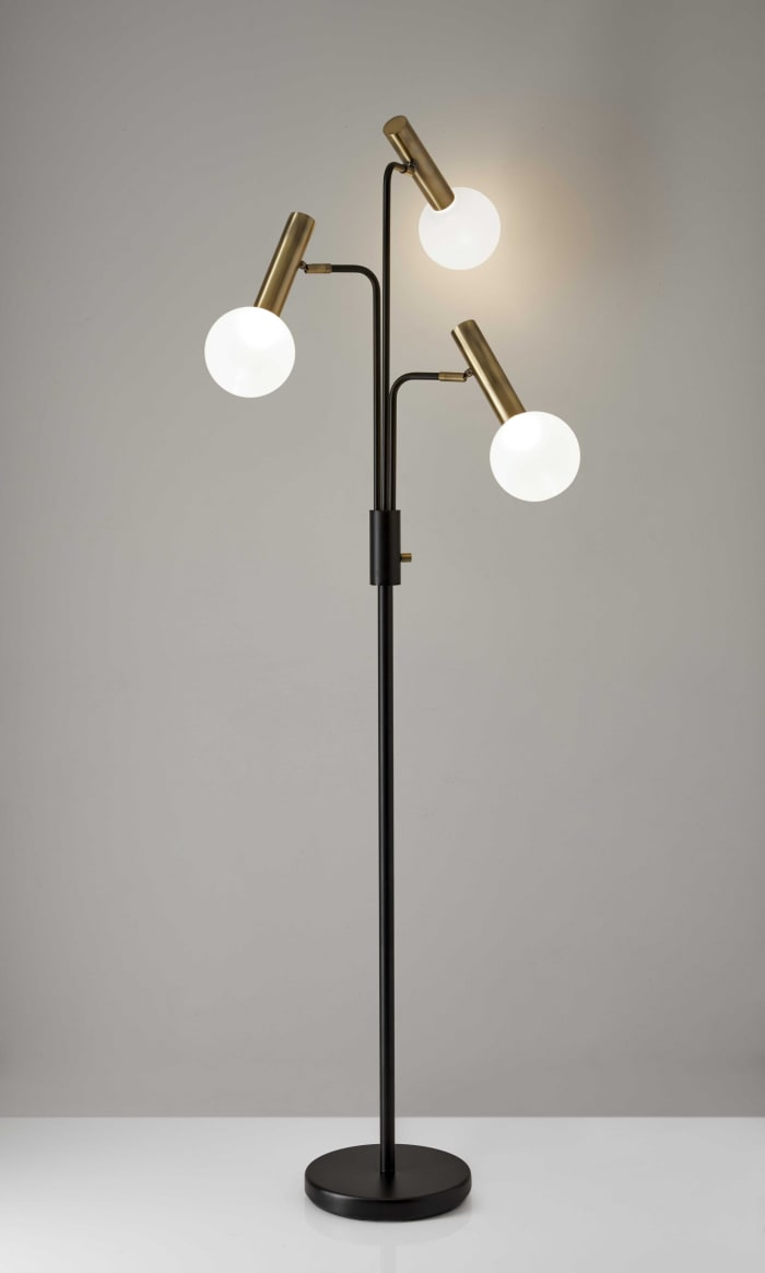 Sleek Black and Brass Finish LED 3-Arm Floor Lamp