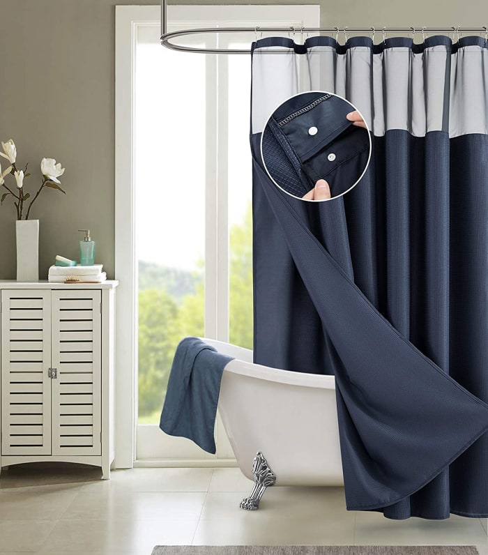 Waffle Navy 2pc Shower Curtain with Detachable Liner