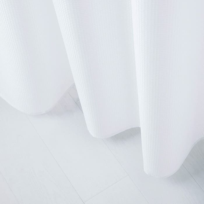 Waffle White 2pc Shower Curtain with Detachable Liner