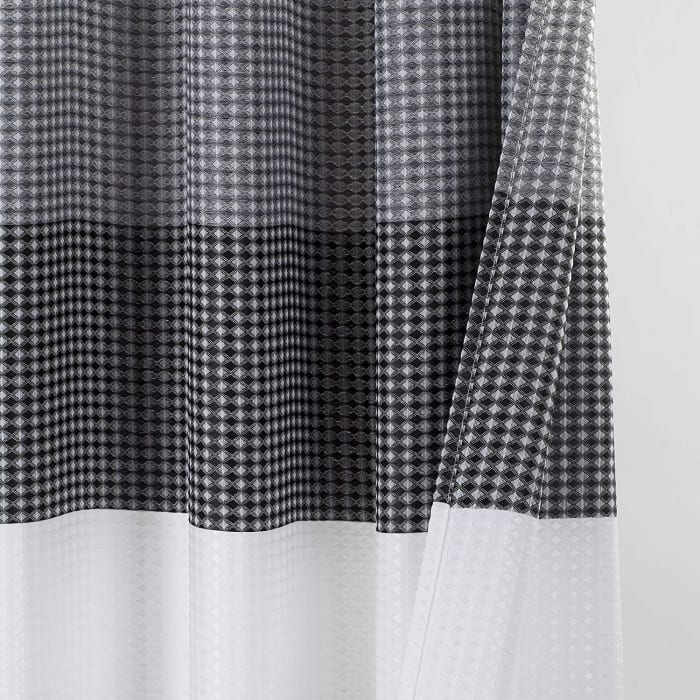 Ombre Waffle Black Shower Curtain
