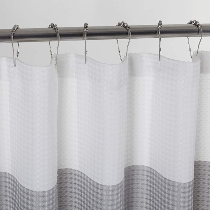 Ombre Waffle Grey Shower Curtain