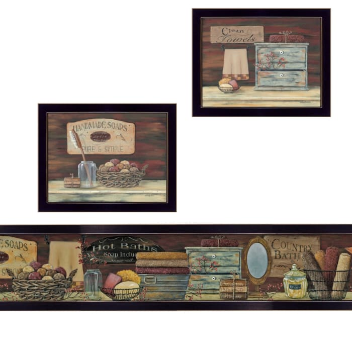 COUNTRY BATH II 3-Piece Vignette by Pam Britten Framed Wall Art