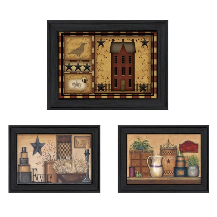 Primitive Saltbox Collection By Carrie Knoff Framed Wall Art