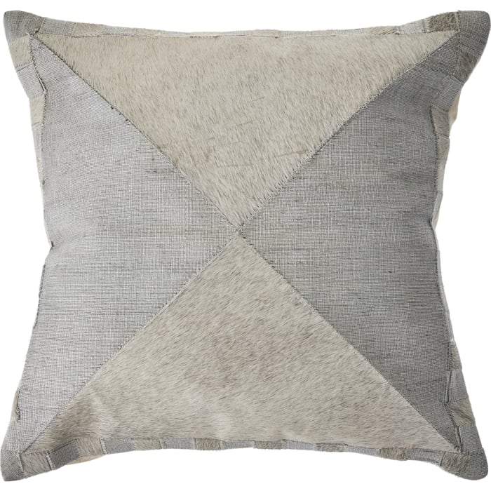 Geometric Faux Leather Silver and Gray Throw Pillow