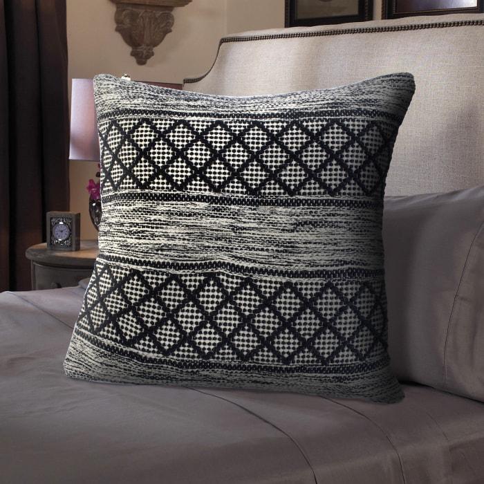 Farmhouse Diamond Geometric Gray Black Throw Pillow