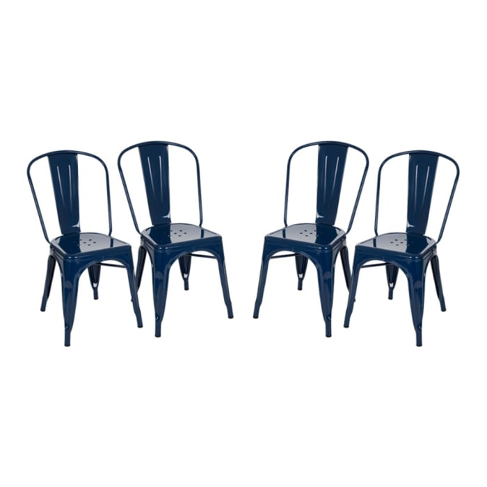 Navy Blue Metal Set of 4 Dining Chairs