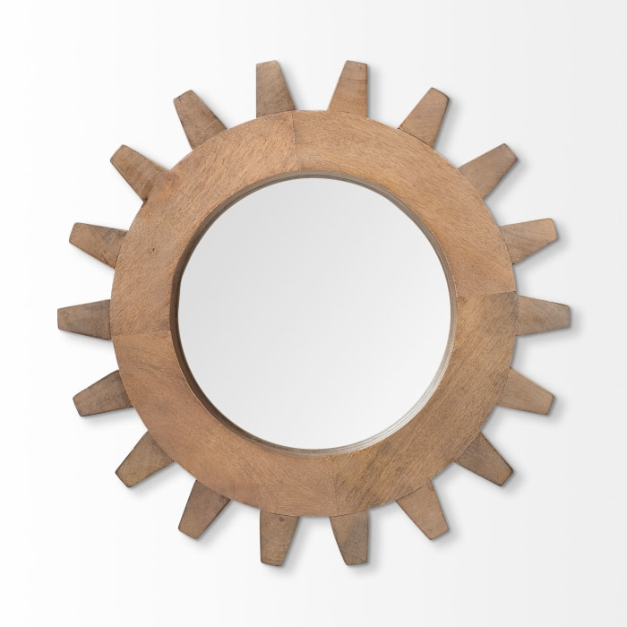 Round Brown Wood Frame Wall Mirror