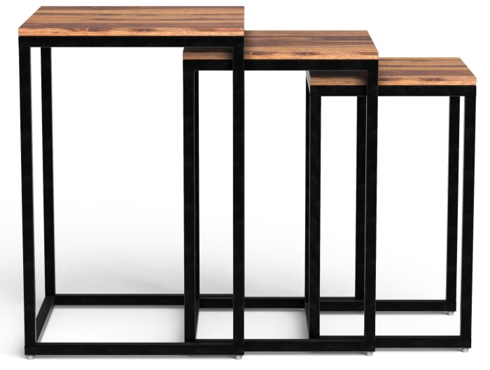 Squared Off Natural Wood Nesting Set of 3  End Tables