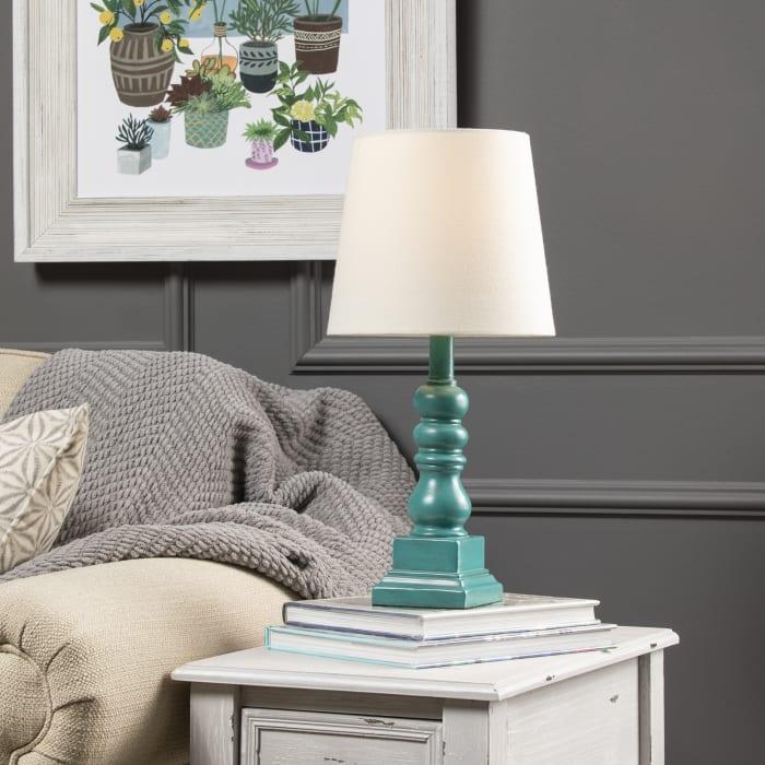 Marlowe Distressed Blue Resin Table Lamp