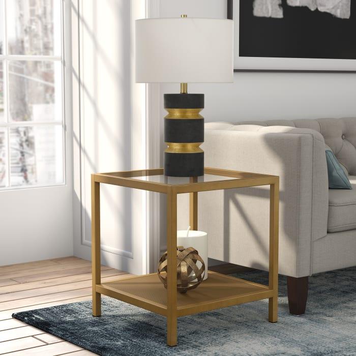 Glass with Metal Mesh Shelf Side Table