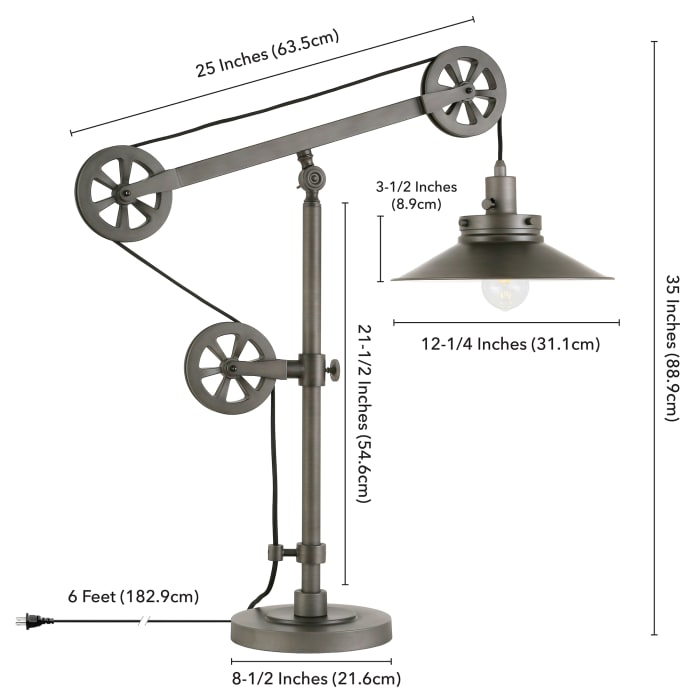 Adjustable Pulley Wide Brim Table Lamp