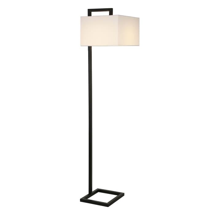 Blackened Bronze Floor Lamp with Square Shade
