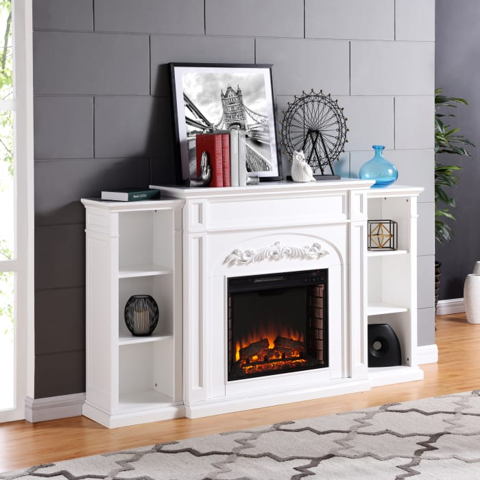 Mulhouse Fireplace W/Bookcases - White