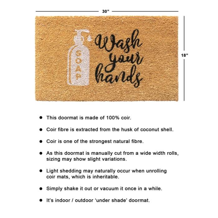 Multi Machine Tufted Wash your Hands Doormat, 1'5'' x 2'5''