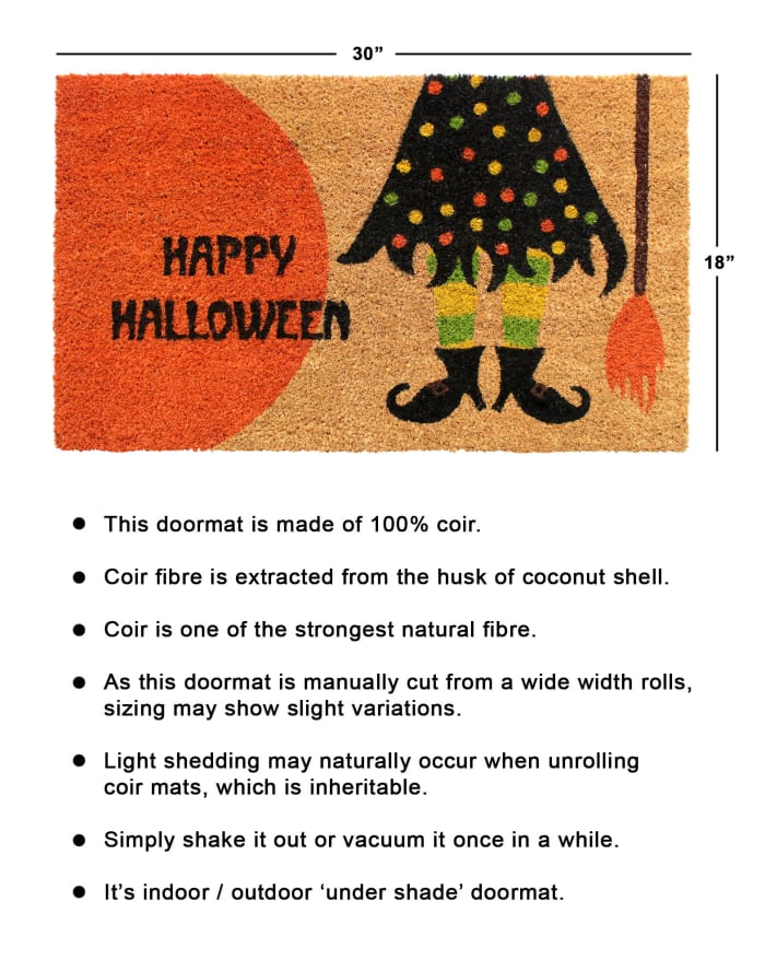 Multi Machine Tufted Happy Haloween Witches Doormat, 1'5'' x 2'5''