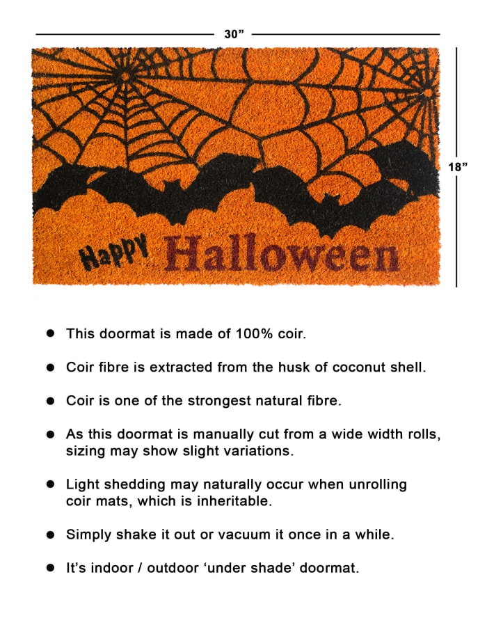 Black Machine Tufted Happy Haloween Bat Doormat, 1'5'' x 2'5''