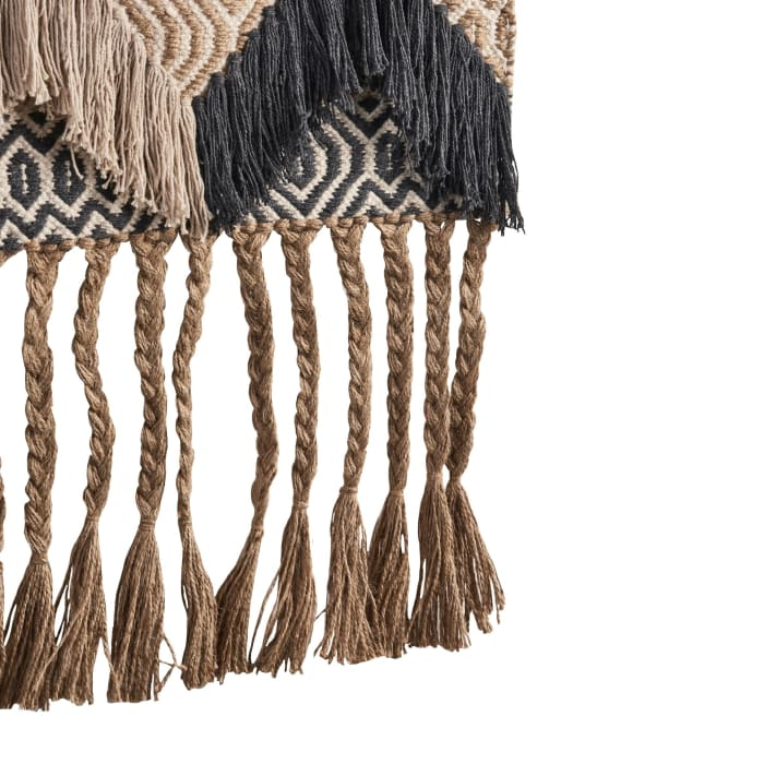 Geometric Fringed Beige and Charcoal Wall Hanging