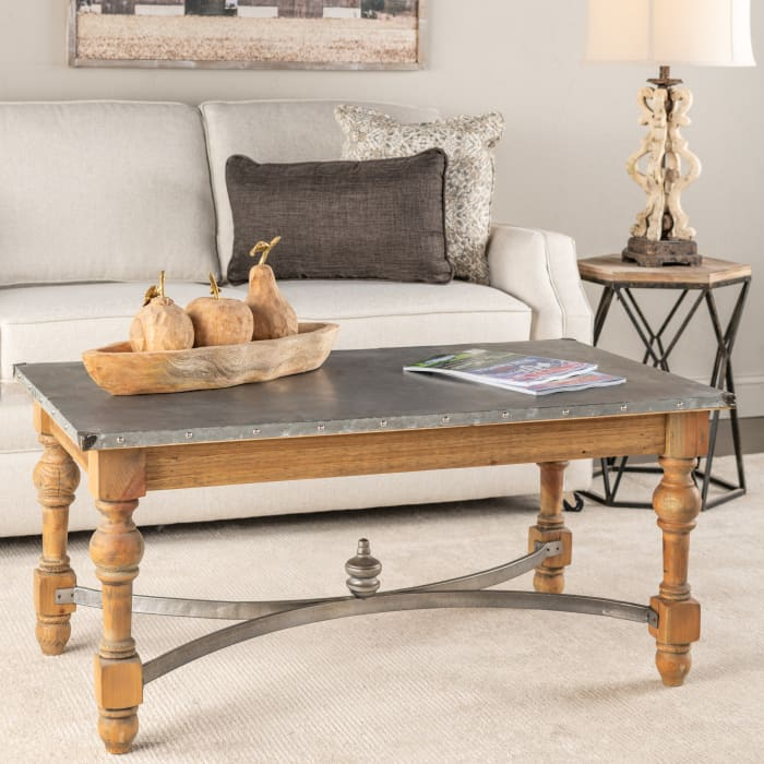 Eisley Galvanized Zinc Top Coffee Table
