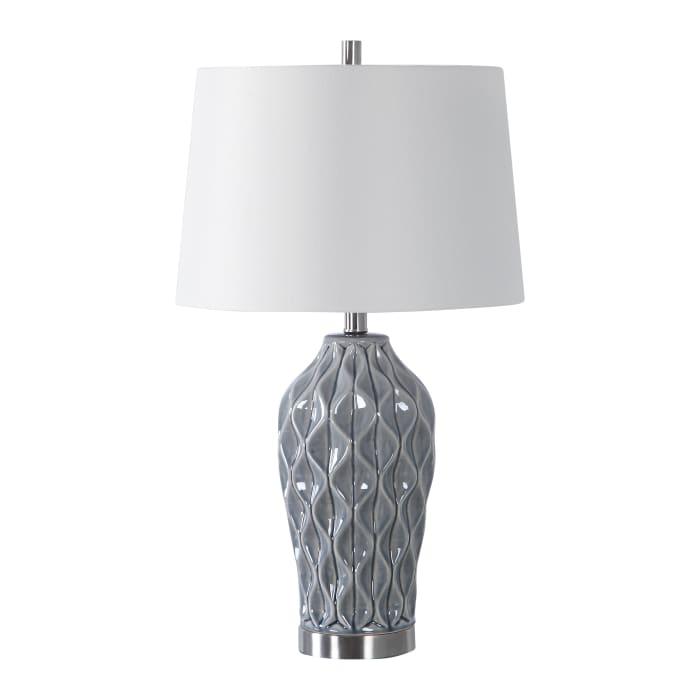 Gray Finish Scalloped Table Lamp