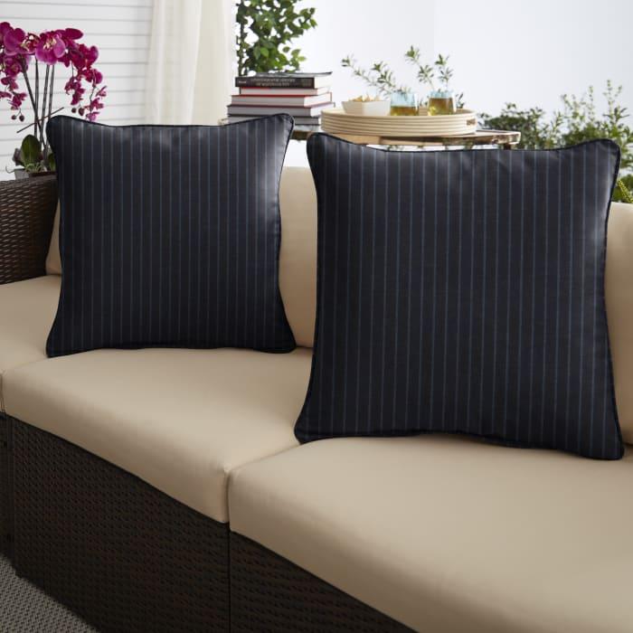 Sunbrella Scale Indigo Set of 2 Outdoor Pillows
