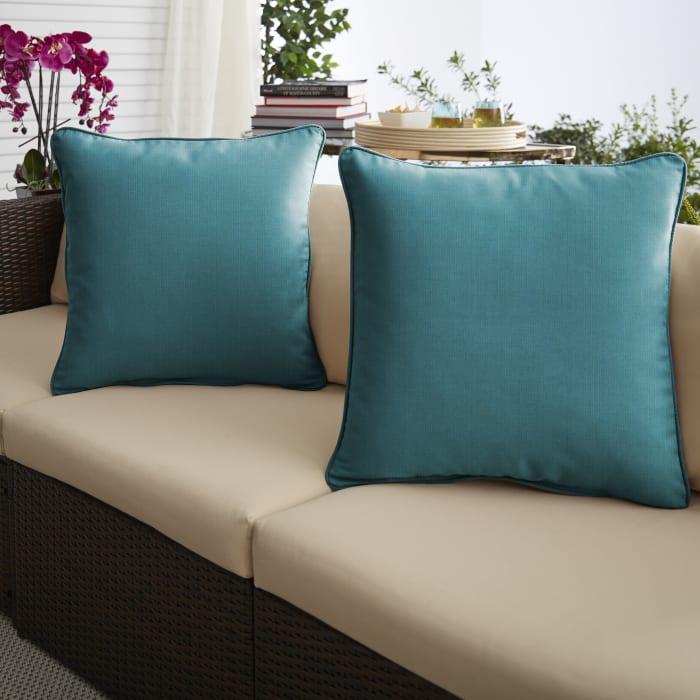 Sunbrella Spectrum Peacock Set of 2 Outdoor Pillows