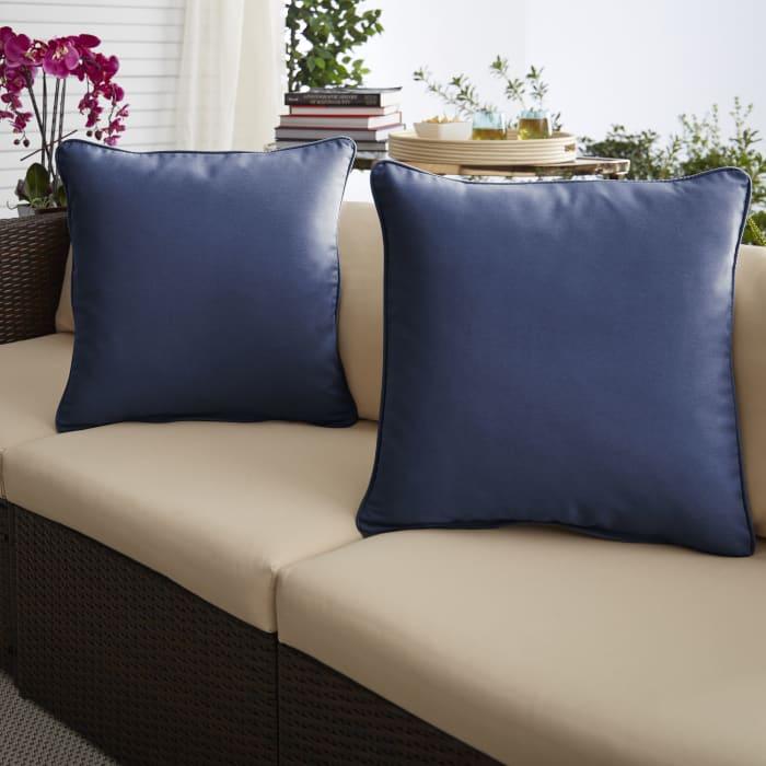 Dark Blue Set of 2 Outdoor Pillows