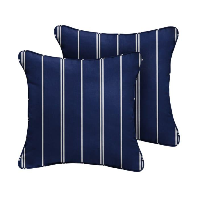 Navy/White Stripes Set of 2 Outdoor Pillows