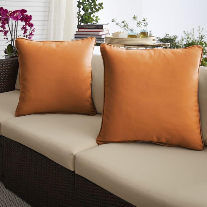 Bright Orange Set of 2 Outdoor Pillows