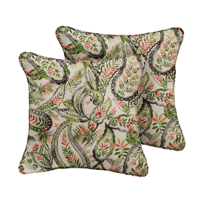 Green Blue Paisley Set of 2 Outdoor Pillows