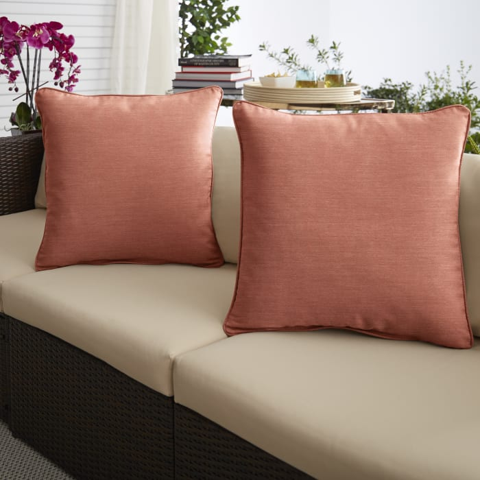 Sunbrella Cast Coral Set of 2 Outdoor Pillows