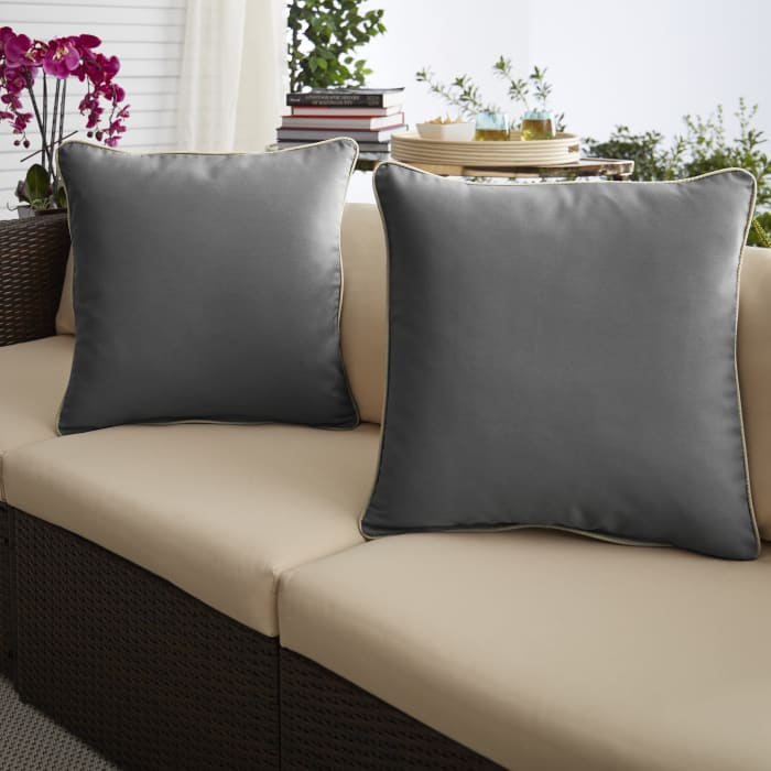 Charcoal Grey/Ivory Set of 2 Outdoor Pillows