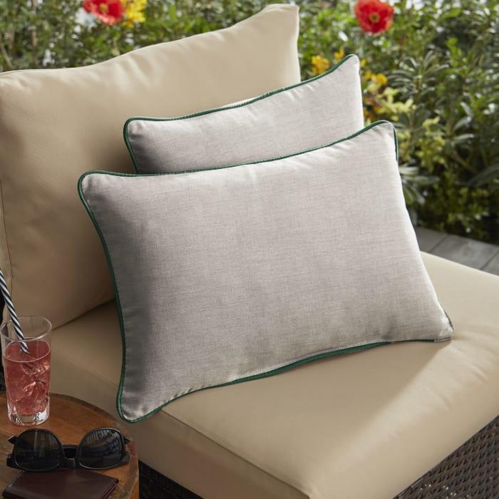 Sunbrella Cast Silver Set of 2 Outdoor Lumbar Pillows
