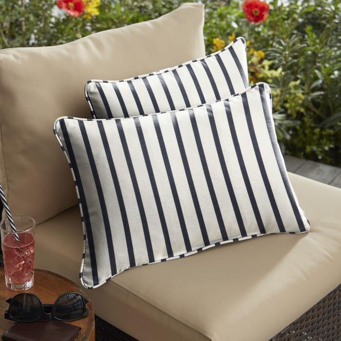 Sunbrella Corded Lido Indigo Set of 2 Outdoor Lumbar Pillows