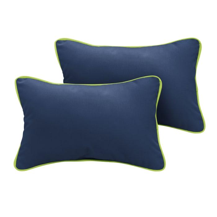 Sunbrella Corded Canvas Navy/Canvas Macaw Set of 2 Outdoor Lumbar Pillows
