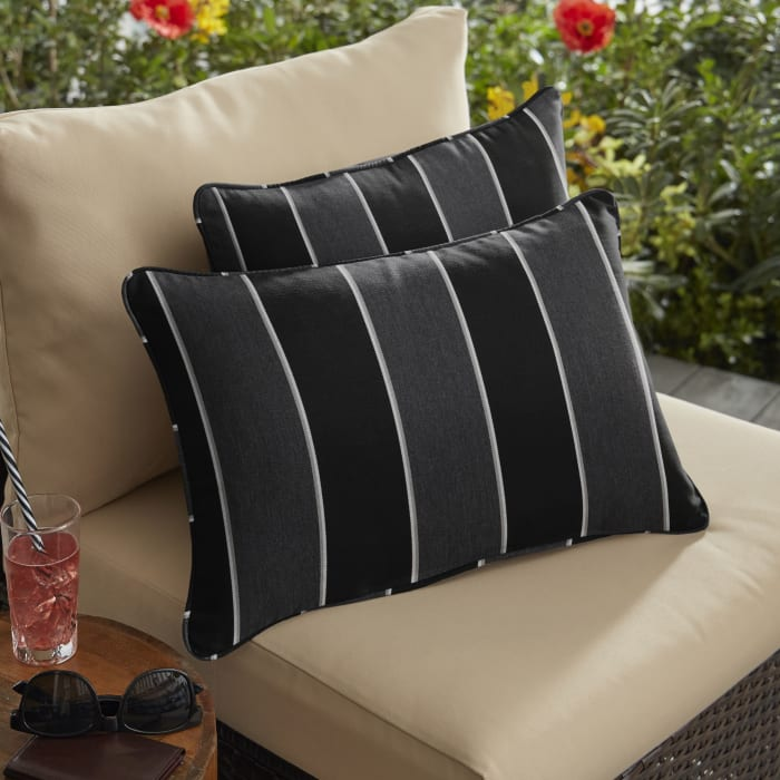 Sunbrella Corded Peyton Granite Set of 2 Outdoor Lumbar Pillows