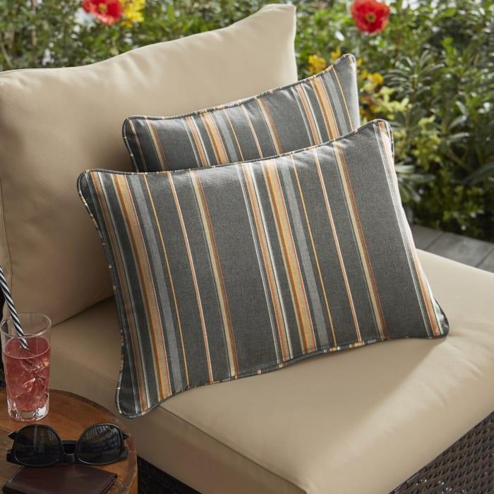 Sunbrella Corded Stanton Greystone Set of 2 Outdoor Lumbar Pillows