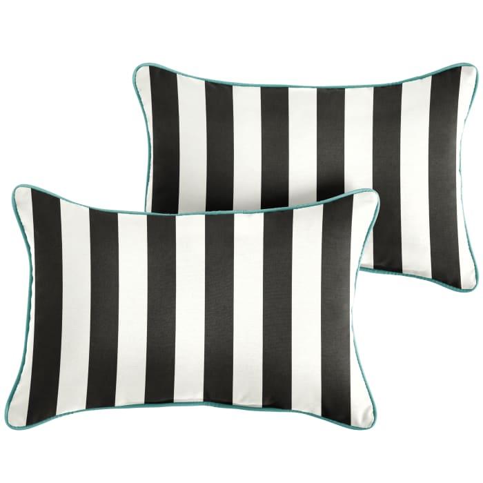 Sunbrella Corded Cabana Classic/Canvas Aruba Set of 2 Outdoor Lumbar Pillows
