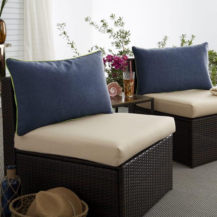 Sunbrella Indigo/Macaw Set of 2 Outdoor Lumbar Pillows