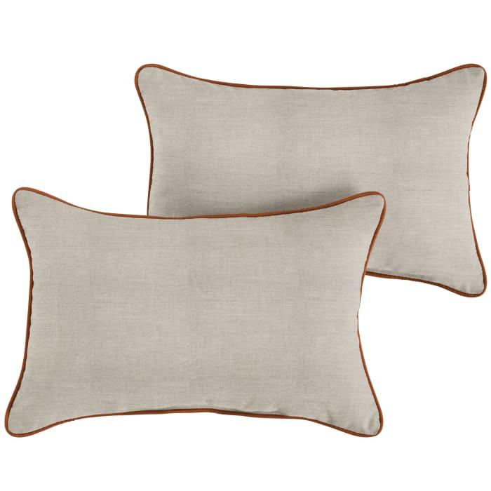 Sunbrella Cast Silver Rust Set of 2 Outdoor Lumbar Pillows