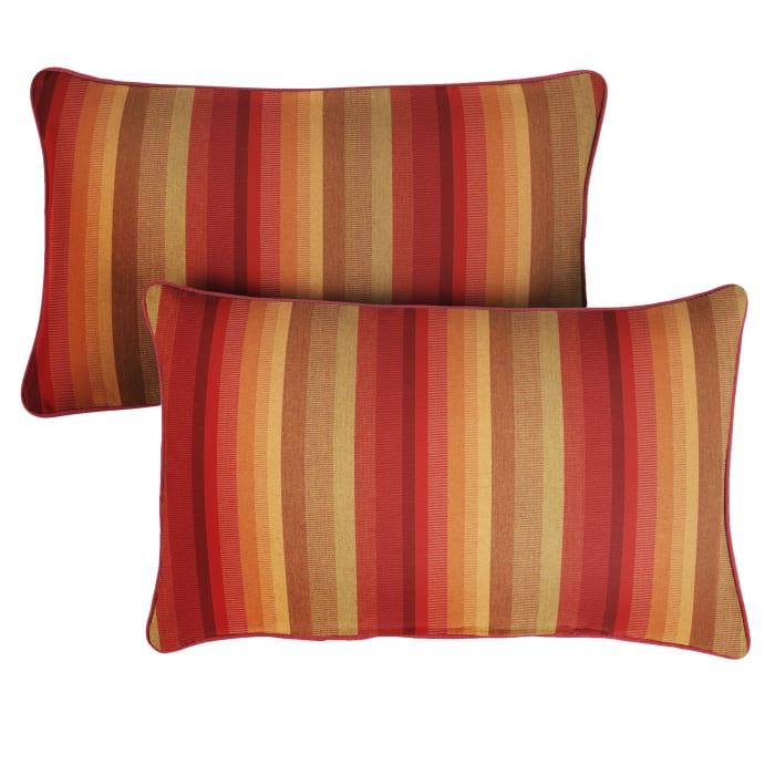 Sunbrella Astoria Sunset Crimson Set of 2 Outdoor Lumbar Pillows