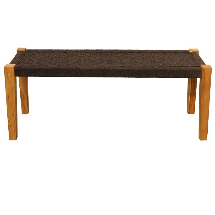 Djuna Black Jute Solid Wood Bench