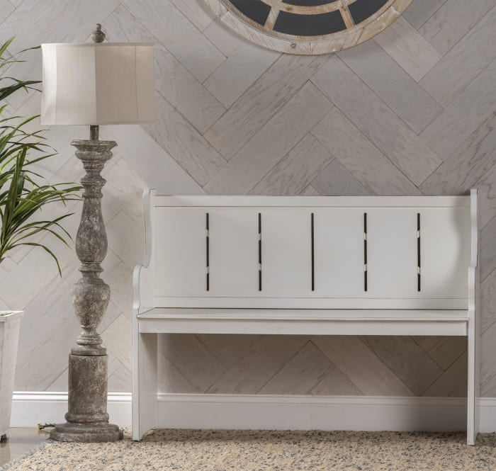 Georgia Solid Wood White Bench