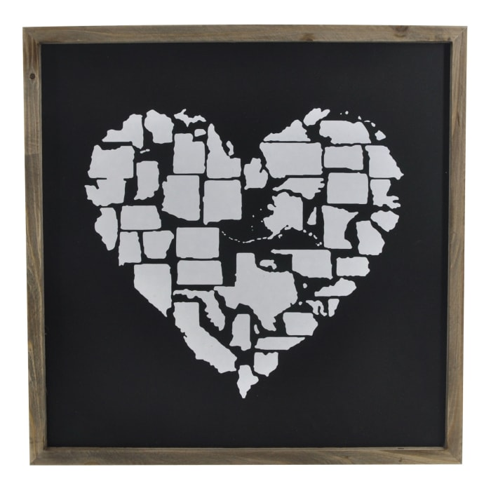 Framed Heart  Shape U.S.A. States Wall Decor