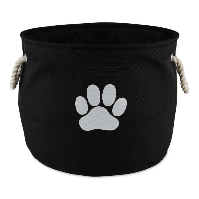 Black Paw Polyester Round Medium Pet Bin